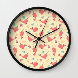 To the Window to the Narwhal - Coral & Cream Wall Clock
