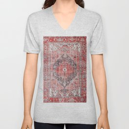 Vintage Anthropologie Farmhouse Traditional Boho Moroccan Style Texture Unisex V-Neck