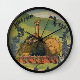 Vintage Thanksgiving Turkey and Feast Celebration (1913) Wall Clock