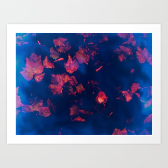 Rusty red falling leaves in dark blue water Art Print
