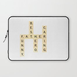 FATHER-FUNNY-BEST-HERO-CARING - Custom Scrabble Art and Accessories for Father's Day Laptop Sleeve