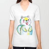 puppy V-neck T-shirts featuring Puppy by Suvi Kari