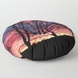 A Winter New England Sunset Floor Pillow