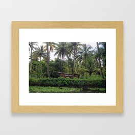 Religion is everywhere, Backwaters, Kerala, India Framed Art Print