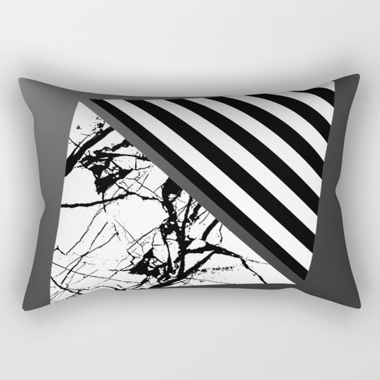 Stripes N Marble 3 - Abstract Black and white stripes and marble textured triangles on metallic Rectangular Pillow