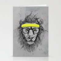 hipster Stationery Cards featuring hipster lion by Balazs Solti