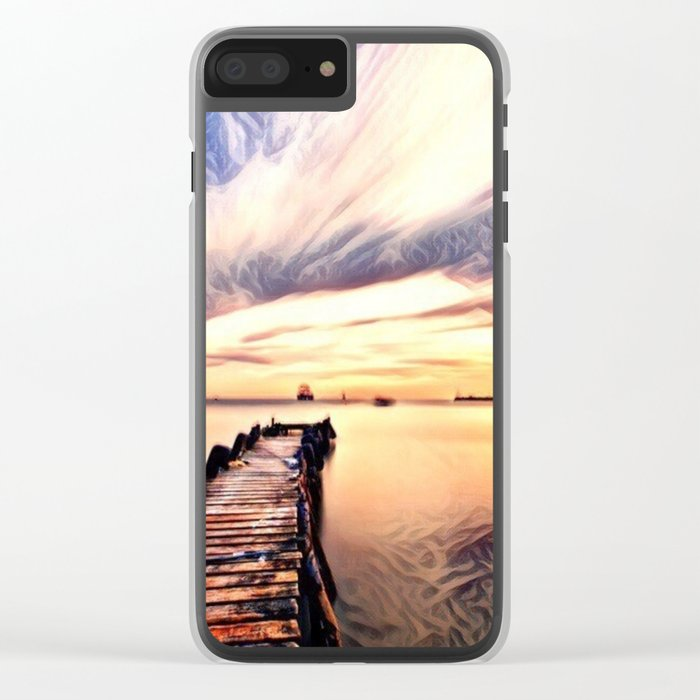 Dock over Water (Sunset Lake) Clear iPhone Case