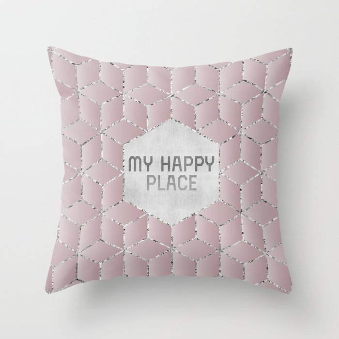 GRAPHIC ART My happy place Throw Pillow