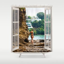 Beach Bikini Babe | OPEN WINDOW ART Shower Curtain