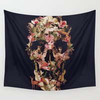 ali gulec Wall Tapestries featuring Jungle Skull by Ali GULEC