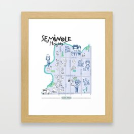Seminole Heights Map Framed Art Print