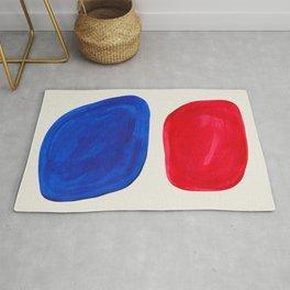 Mid Century Modern Retro Minimalist Colorful Shapes Phthalo Blue Red Rothko Pebbles Rug