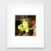 vespa Framed Art Prints featuring Vespa by Linda Lees