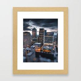 london canary wharf at dusk Framed Art Print
