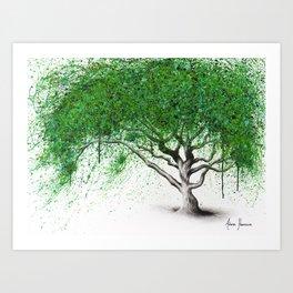 Green Breeze Tree Art Print