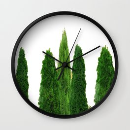 GREEN CYPRESS TREES ON WHITE Wall Clock
