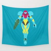samus Wall Tapestries featuring Samus(Smash)Fusion Suit by ejgomez