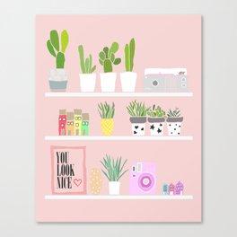 Cactus shelfie pink Canvas Print
