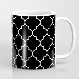 Moroccan Trellis, Latticework - Black White Coffee Mug