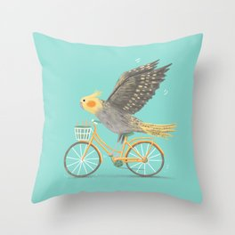 Cockatiel on a Bicycle Throw Pillow