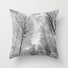 Monochrome Snow Trees Throw Pillow