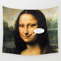 mona lisa Wall Tapestries featuring Smirking Mona Lisa by Anderssen Creative Imaging
