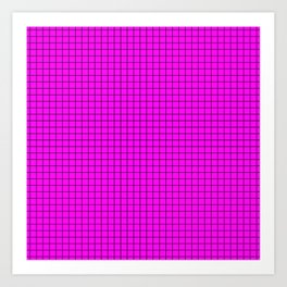 Pink Grid Black Line Art Print