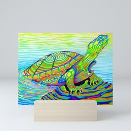 Colorful Psychedelic Neon Painted Turtle Rainbow Turtle Mini Art Print