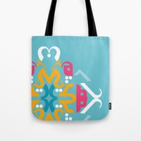arabic Tote Bags featuring Blue Arabic by Farah Saheb