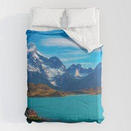 Dickson Lake mountain lake Magallanes mountains blue lake Chile Comforters