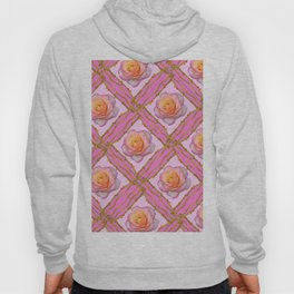 CREAMY  ROSES & RAMBLING THORNY CANES ON  PINK  DIAGONAL PATTERNS Hoody