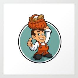 Happy little baker cartoon character Art Print
