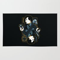 221b Area & Throw Rugs featuring The Detective of 221B by WinterArtwork