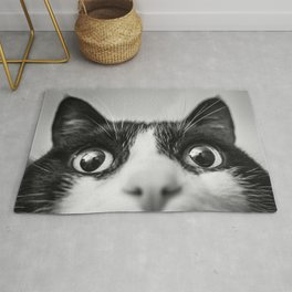 Funny Cat black and white Rug