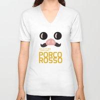 hayao miyazaki V-neck T-shirts featuring Porco Rosso - Miyazaki - Alternative Cartoon Poster by Stefanoreves