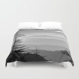 Rainbow clouds at the mountains at sunrise. BW Duvet Cover