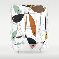 fishing Shower Curtains featuring Fishing net by FLATOWL