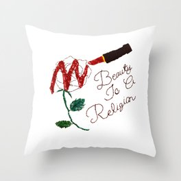 BeautyIsAReligion `Rose Lippy` Throw Pillow