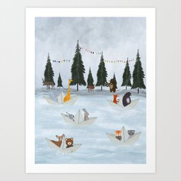 the great paper boat race Art Print