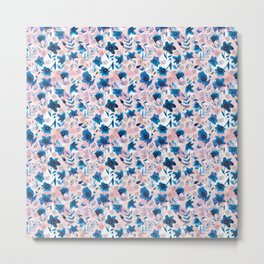 Flow pattern with hand painted watercolor flowers Metal Print