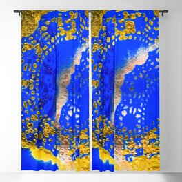 Royal Blue and Gold Abstract Lace Design Blackout Curtain