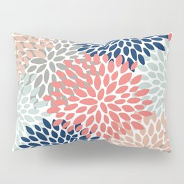 Floral Bloom Print, Living Coral, Pale Aqua Blue, Gray, Navy Pillow Sham