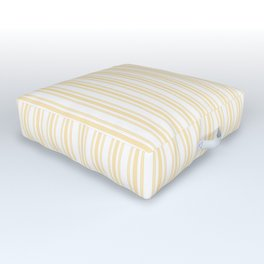 Trendy Large Buttercup Yellow Pastel Butter French Mattress Ticking Double Stripes Outdoor Floor Cushion