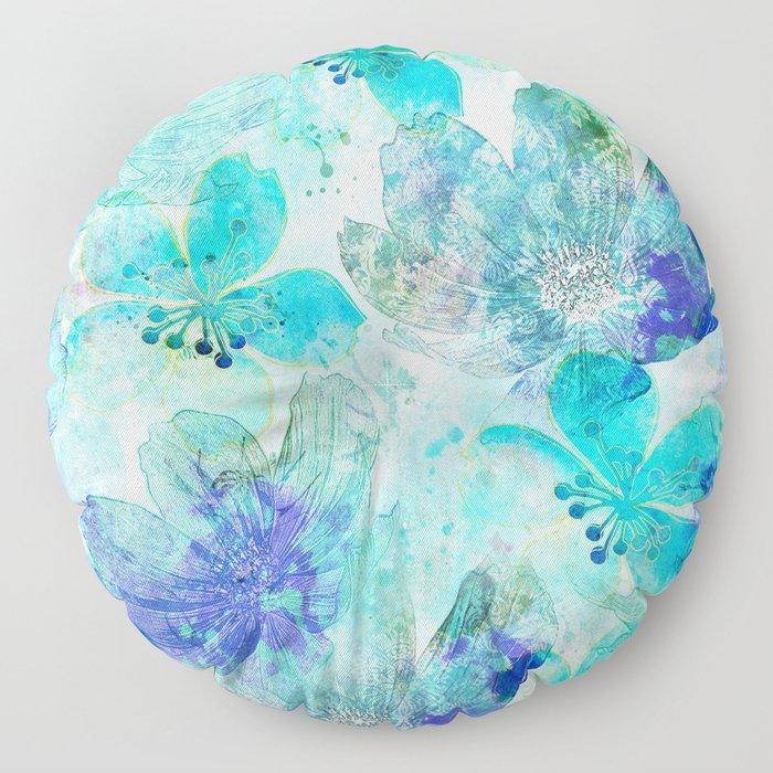 blue turquoise mixed media flower illustration Floor Pillow