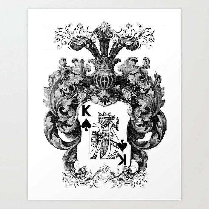 Poker King Spades Black And White Art Print By Jbjart Society6