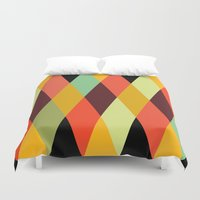 diamonds Duvet Covers featuring multicolor diamond pattern by Gary Andrew Clarke
