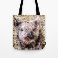 piglet Tote Bags featuring scribbled Piglet by MehrFarbeimLeben
