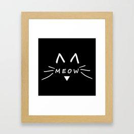 Meow Black Cat Framed Art Print