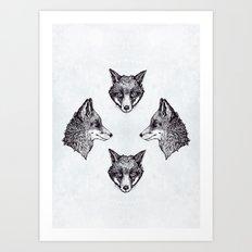 Mrs Fox Design B&W Art Print