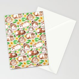 Guinea Pigs and Daisies in Watercolor Stationery Cards